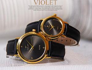 ست ساعت مچی مردانه و زنانه Violet مدل Acore(تمام مشکی)